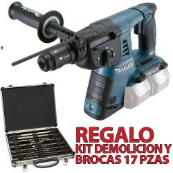 Martillo 3 Modos 26mm 2x18V 2 Portabrocas DHR264Z + Kit Demolicion Martillos