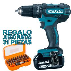 Taladro Combinado 18V 62Nm Baterías 4.0Ah DHP482RFE + JUEGO PUNTAS TOP OFERTAS 18V