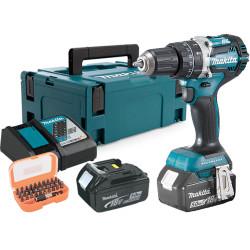 Taladro Combinado BL 18V 54Nm 2 Baterías 5.0Ah DHP484RTJ + Juego Puntas + Adaptador 18V